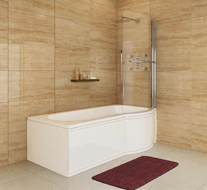 1675mm - P-Shaped Bath with Screen, Rail & Panels - Right Hand -